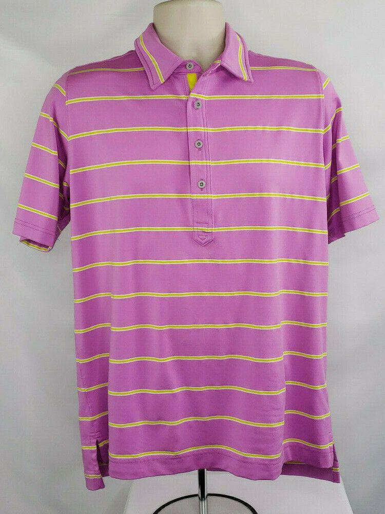 Zero Restriction Tour Series Men S Sz M Purple Yellow Golf Polo Shirt Euc Zerorestriction Polorugby Mens Golf Outfit Golf Polo Golf Outfit