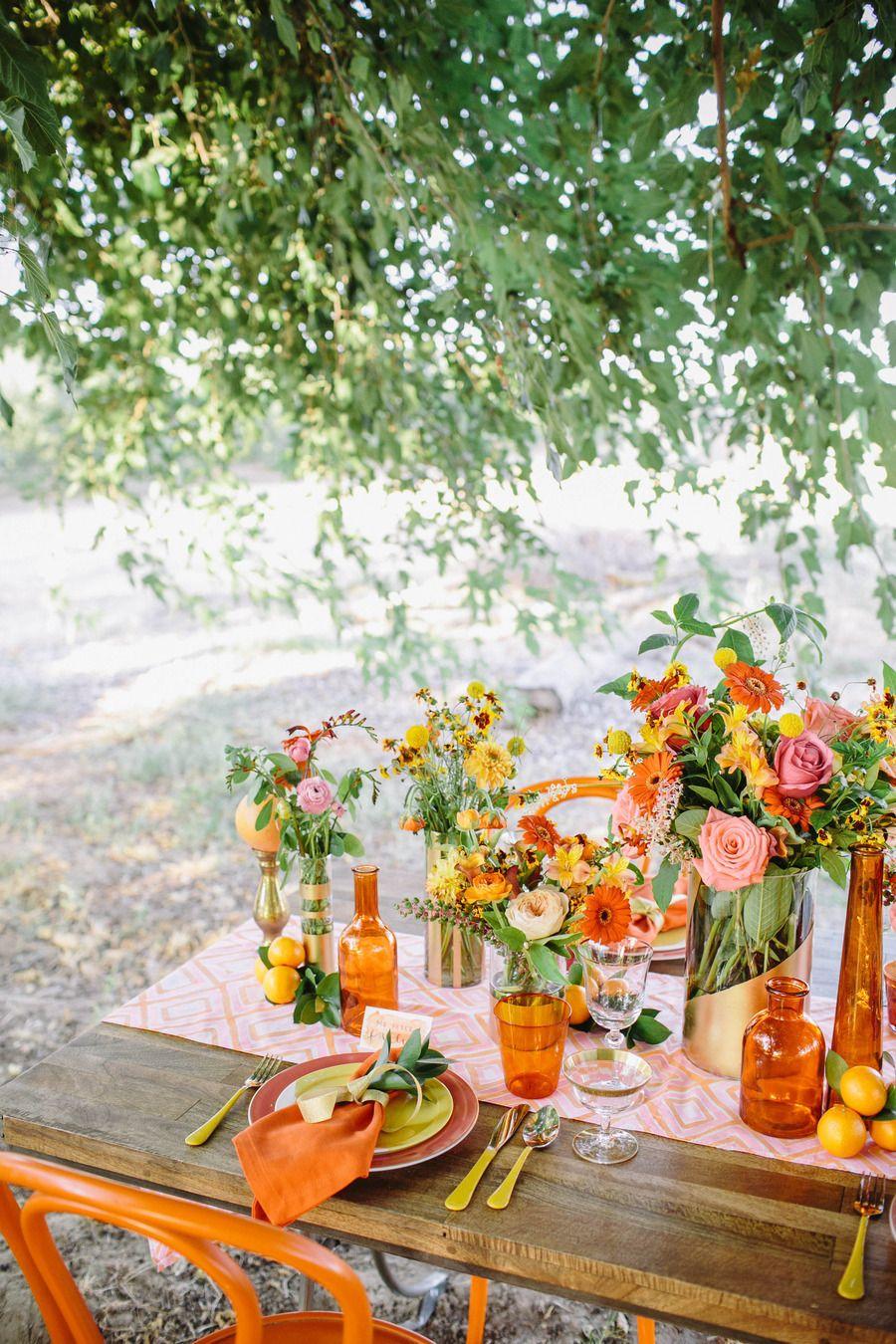 mesa en color naraja