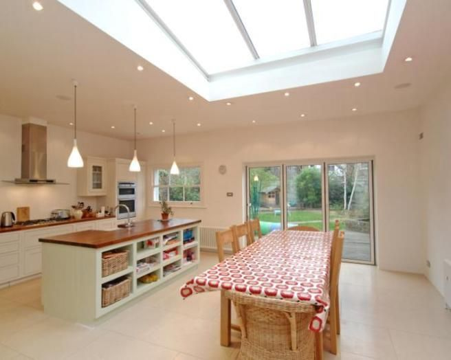 Photo of airy beige white dining room kitchen with kitchen for Dining room extension ideas