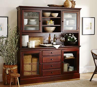Tucker Wood Cabinet Buffet Hutch Mahogany Stain Kitchen Dining RoomsDining