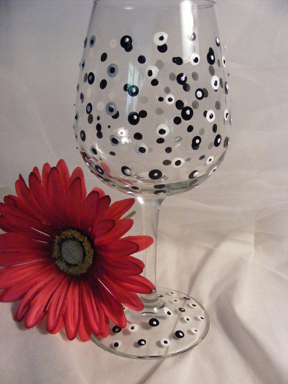 Polka Dot Wine Glass Wine Glass Decor Painted Wine Glass Painting Glassware