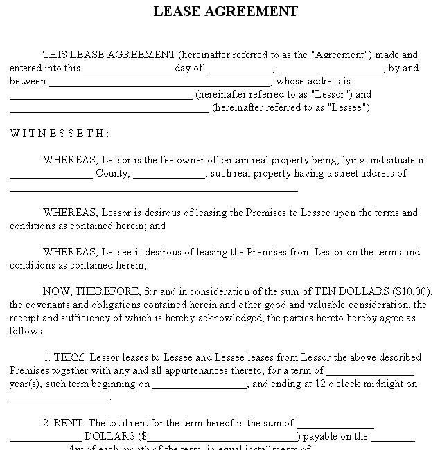 Printable Sample Free Rental Agreement Template Form – Lease Agreement Example