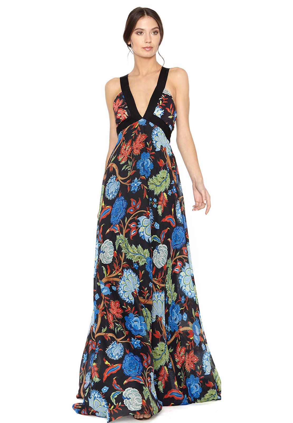 Celina Drop V Neck Cross Back Long Dress By Alice Olivia