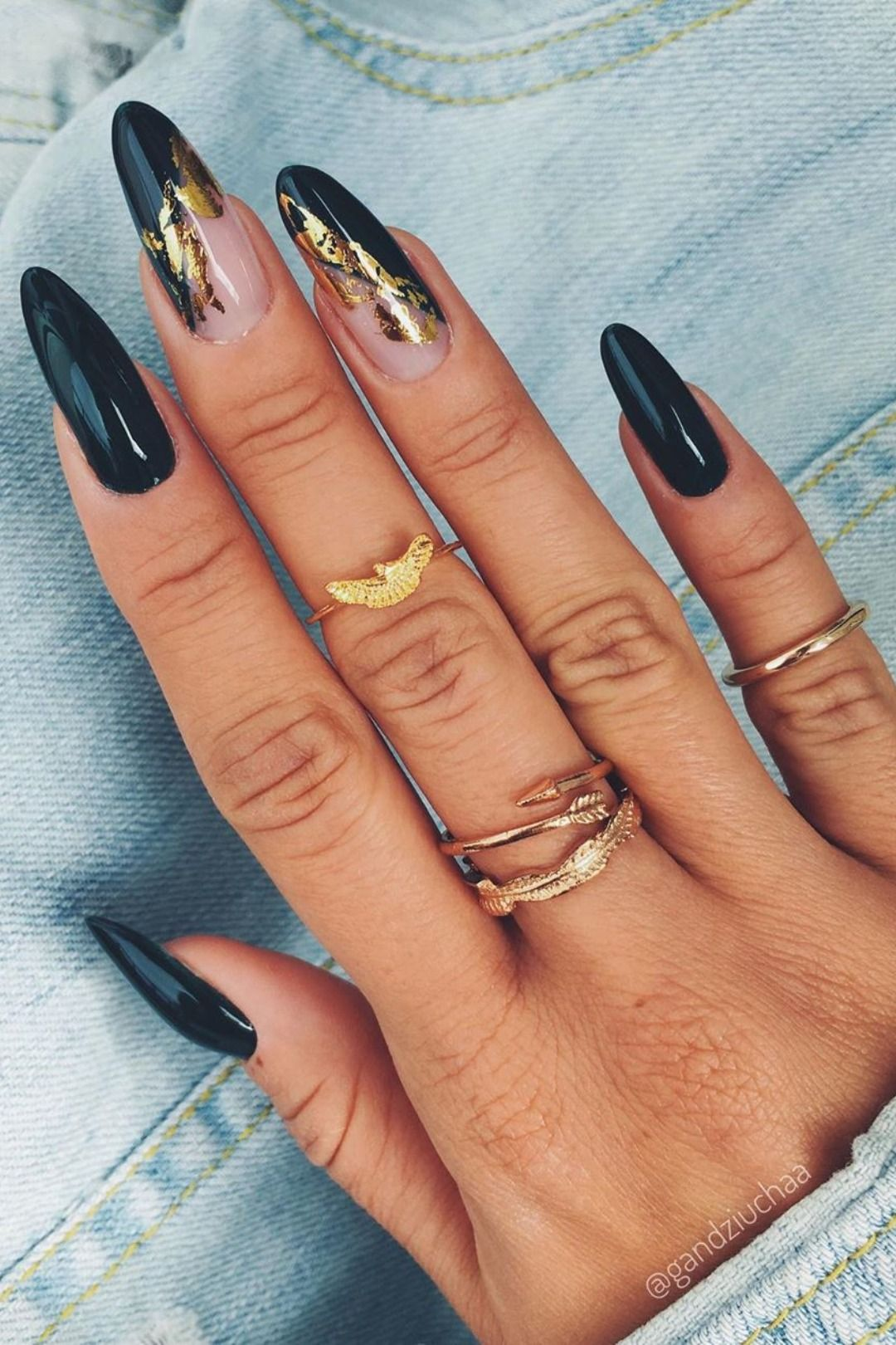 The Most Beautiful Black Winter Nails Ideas In 2020 Gold Nails