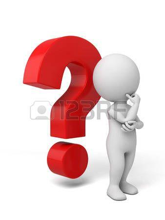 Personaje De Dibujos Animados Blanco Al Lado Del Signo De Interrogacion Rojo Signo De Pregunta Preguntas Al Azar Signo De Interrogacion