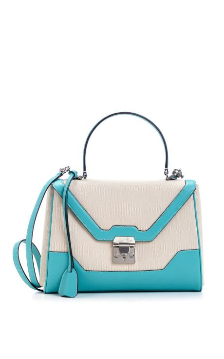 Scottie Small Flap In Natural And Turquoise by Mark Cross for Preorder on Moda Operandi