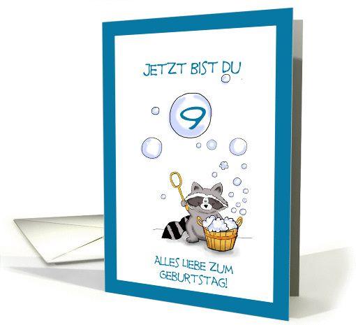 Jetzt Bist Du 9 Geburtstag Deutsch German Birthday Card Birthday Cards Cards Birthday