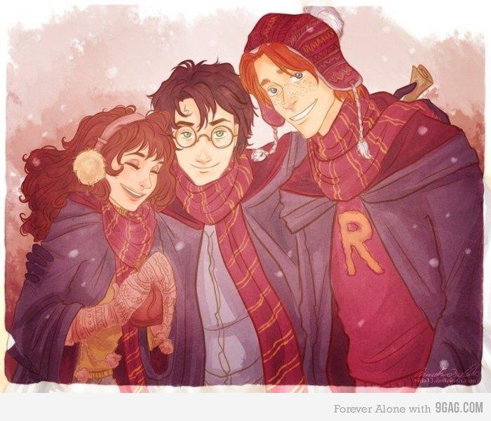 Three Best Friends Illustrations Harry Potter Dessin Harry