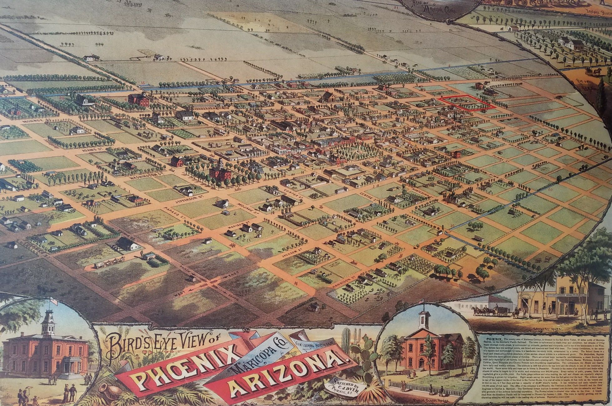 Bird's Eye View of Phoenix, turn of the 20th century. Heritage Square.