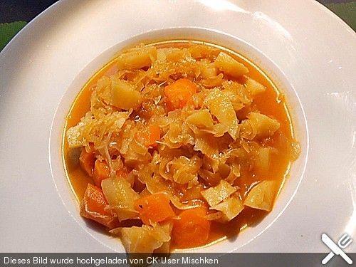 Sauerkrautsuppe vegetarisch, ein tolles Rezept aus der Kategorie Gemüse. Bewertungen: 4. Durchschnitt: Ø 3,5.