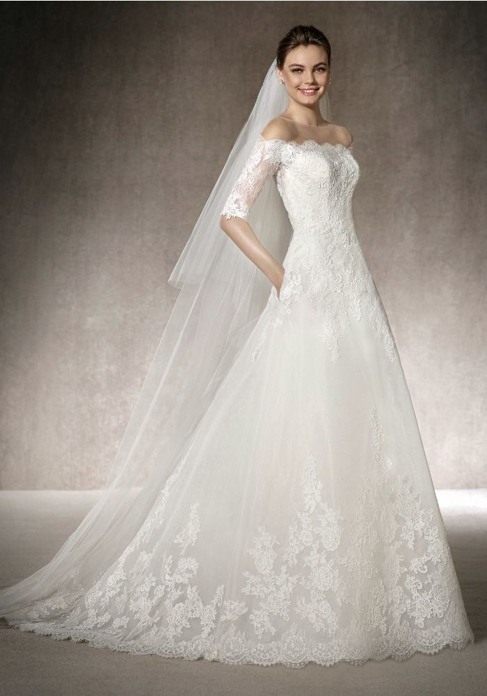 0246db309786 St. Patrick | Boat neck neckline lace wedding dress with an A-line skirt…