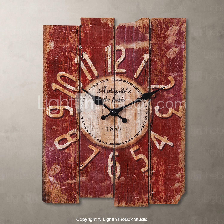 1pc wood 300 390 20cm lantlig stil khaki vggklocka home