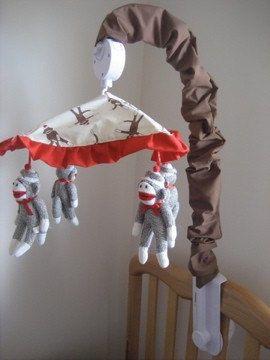 Sock Monkey Crib Mobile Musical By Bedbugscreations On Etsy 145 00
