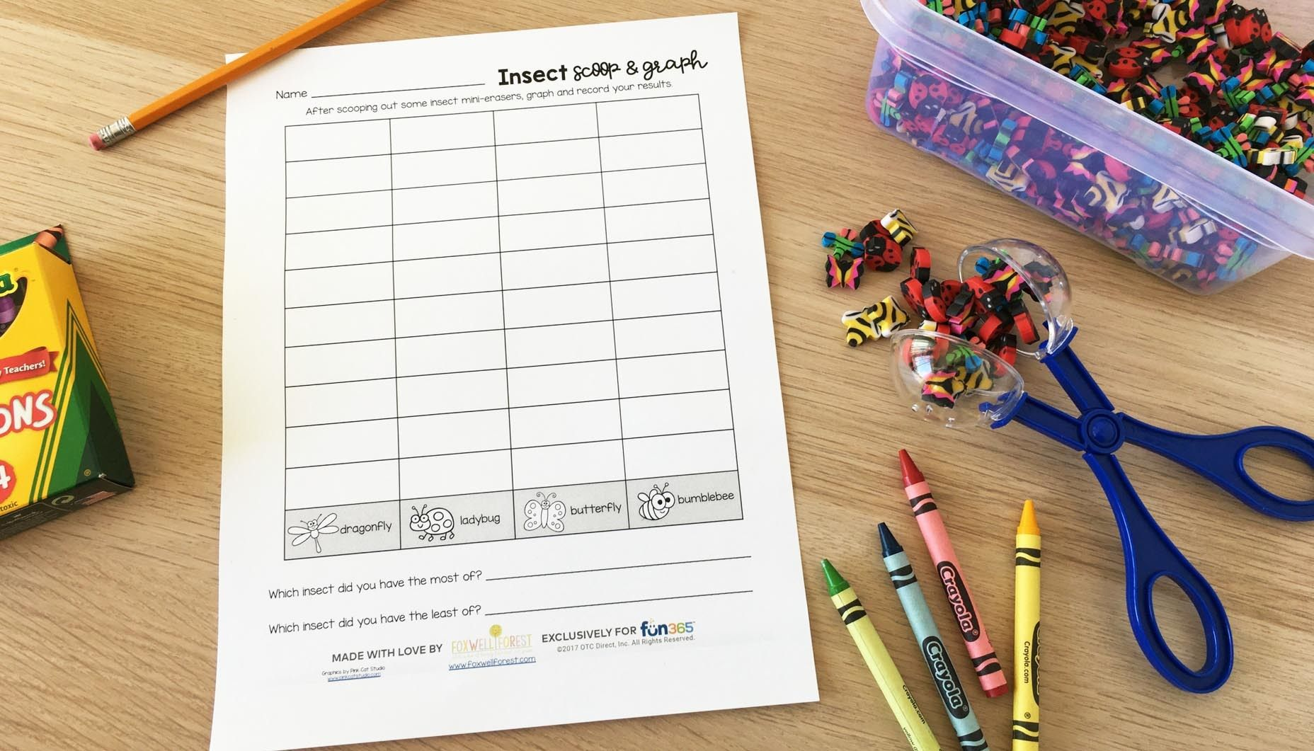Insect Mini Eraser Scoop And Graph Activity Content 1