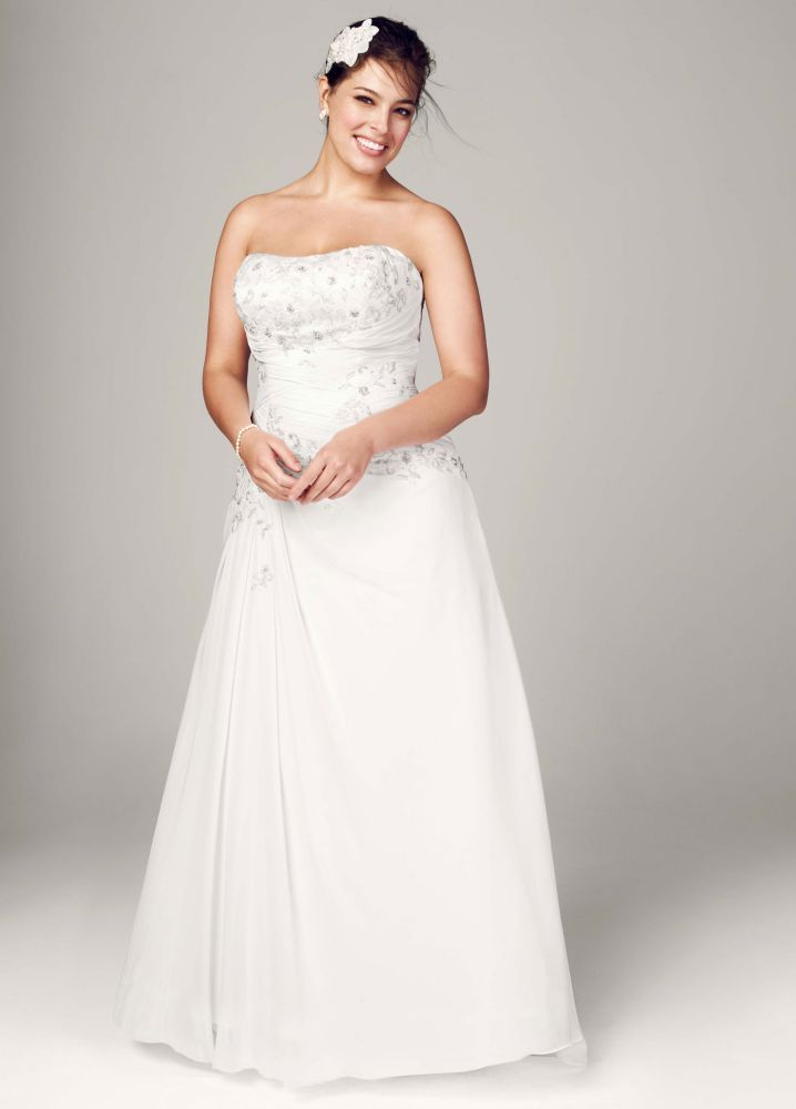 fe8de15db7ae2 Sample: Chiffon Over Satin Wedding Dress with Side Draped Skirt - Ivory, 22W