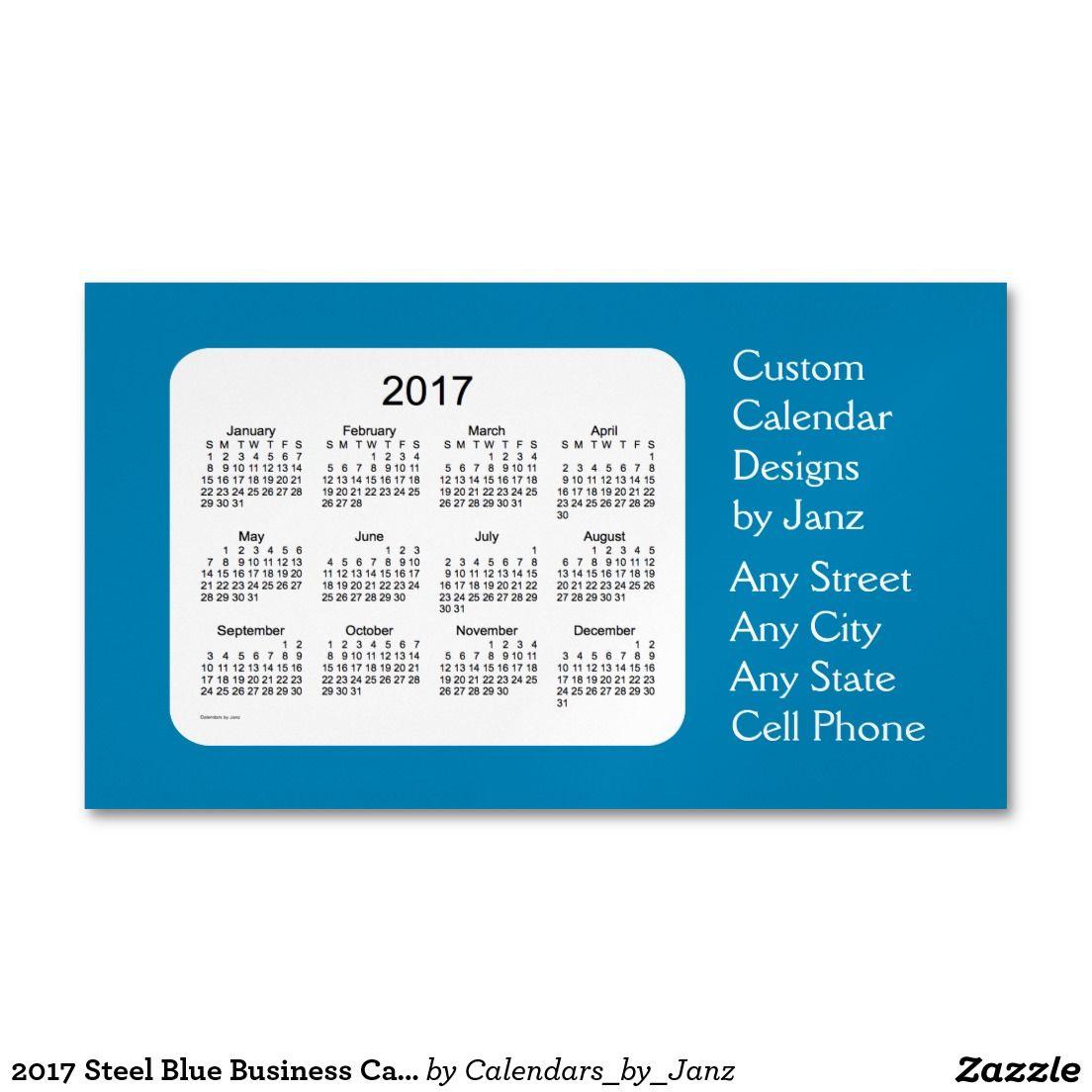 2017 Steel Blue Business Calendar by Janz Magnet Magnetic Business ...