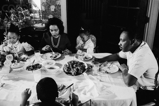 Martin Luther King Jr Eating With His Family