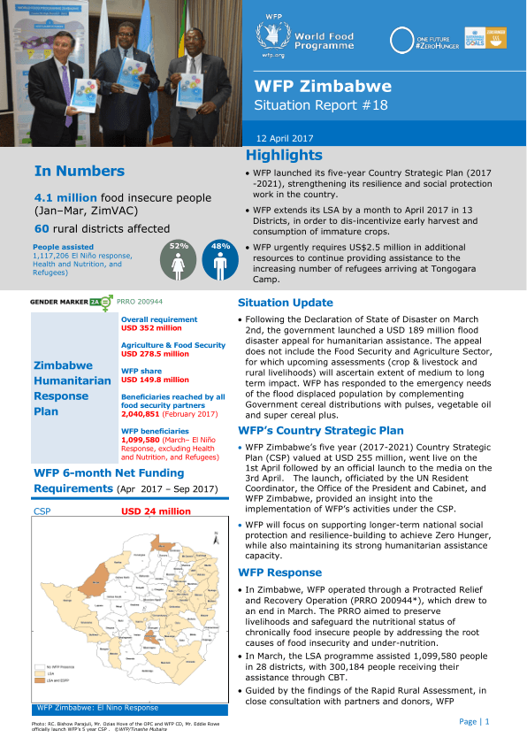 Wfp Zimbabwe Situation Report   April   HttpZimbabwe