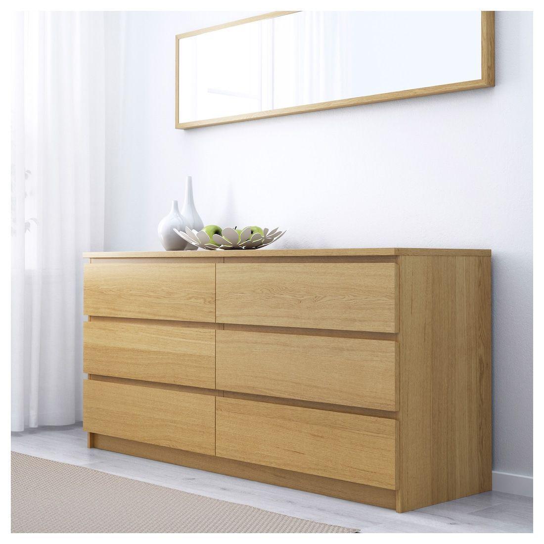 Eiche Ikea Malm Kommode 3 Schubladen
