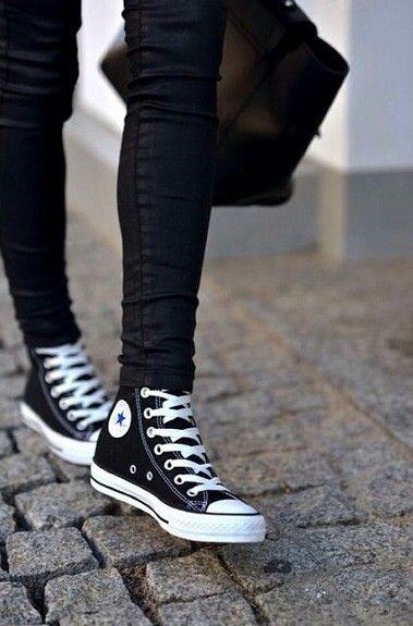 high top converse women black