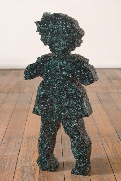 Bett Gallery. Sculptures of children made from layers of broken glass