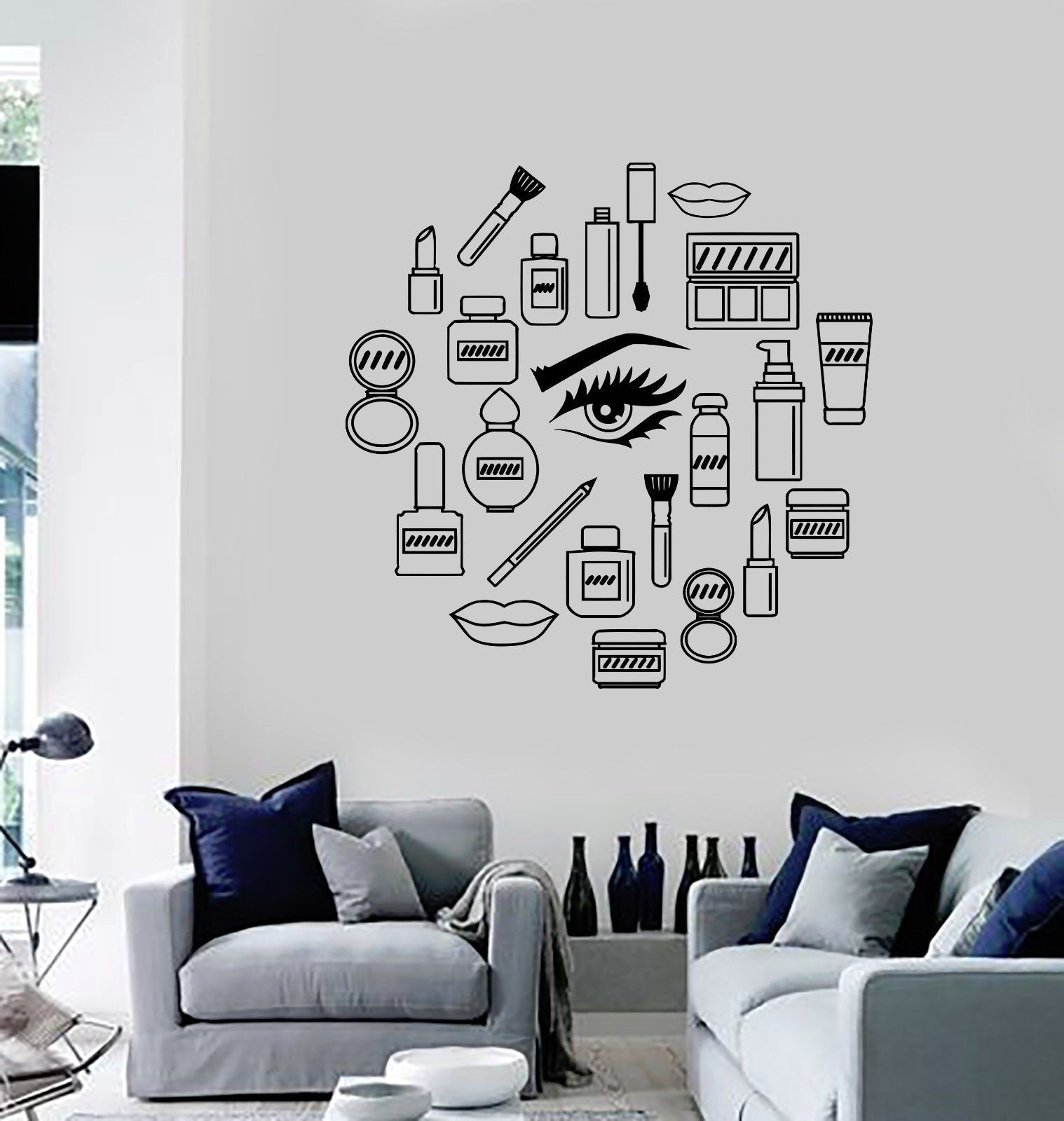 New Women Vinyl Decal Makeup Cosmetics Woman Girl Beauty Shop - Wall decals 2016