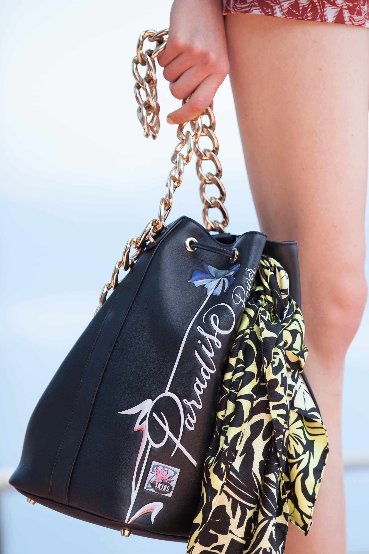 Dior Black Printed Bucket Bag