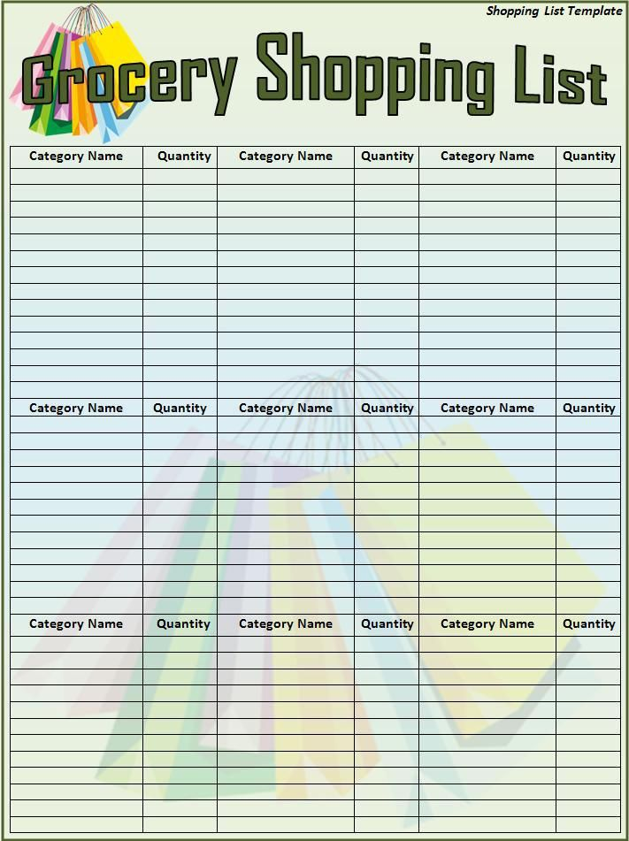 10+ Shopping List Templates Word, Excel  PDF Templates www - grocery list template word