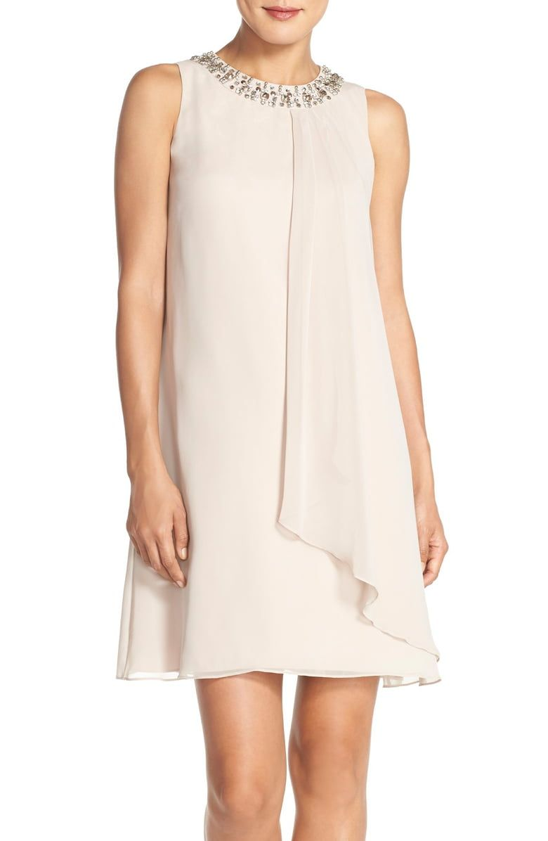Free Shipping And Returns On Vince Camuto Embellished Cascade Chiffon Shift Dress At Nordstrom Com P Flut Chiffon Shift Dress Shift Dress Chiffon Dress Short [ 1196 x 780 Pixel ]