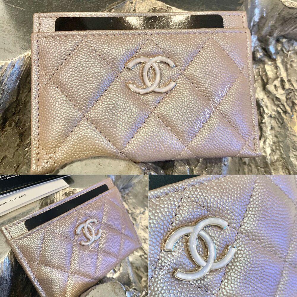 CHANEL 19S Iridescent Beige Caviar Flat Card Holder 2019
