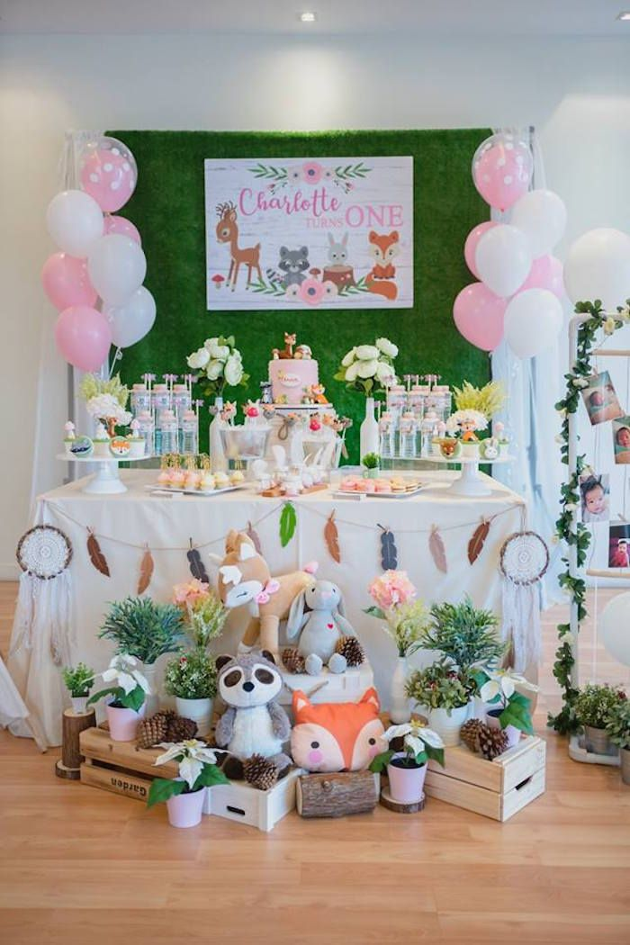 Girly Rustic Woodland Birthday Party 1st Birthday Party