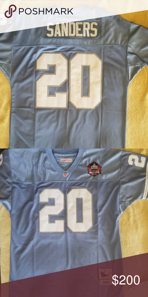 3bf63380e Mitchell   Ness Barry Sanders Detroit Lions NFL Authentic Mitchell   Ness  Barry Sanders  20 Detroit Lions NFL Throwback Jersey Color  Light Blue  Size  52 ...