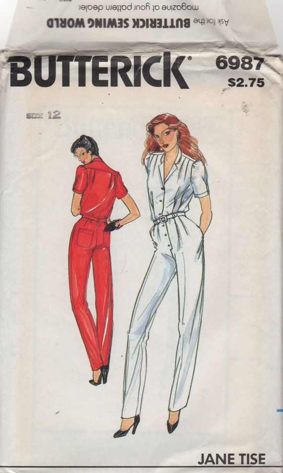 1980s Butterick 6987 JANE TISE Misses Jumpsuit Pattern womens vintage sewing pattern by mbchills