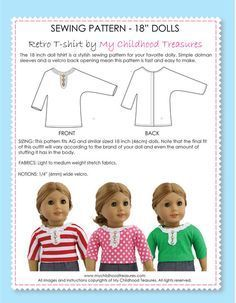 18 inch doll clothes patterns - FREE Retro doll T-shirt pattern (D1308) #dollclothes