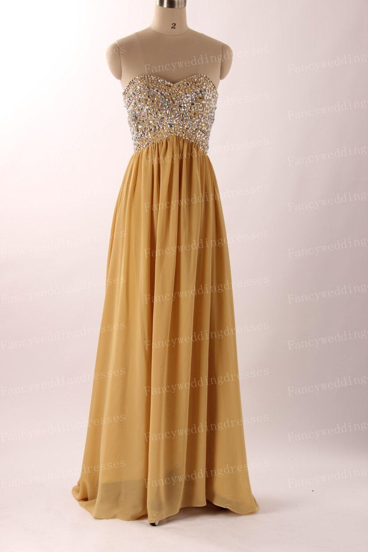 Fancy sweetheart strapless sleeveless gold yellow chiffon laceup
