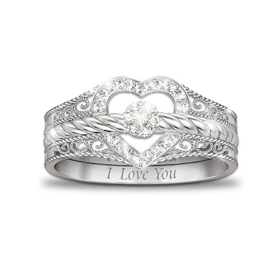 NEW STERLING SILVER BRADFORD EXCHANGE I LOVE YOU STACKABLE