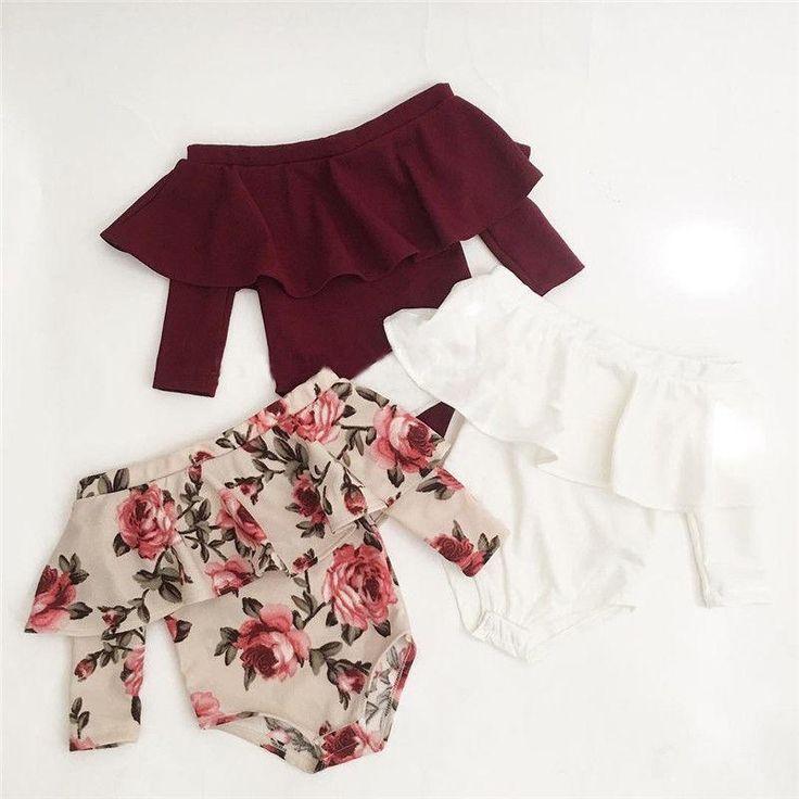 e2c4f147f Newborn Toddler Baby Girls Off Shoulder Romper Bodysuit Jumpsuit Outfits  Clothes