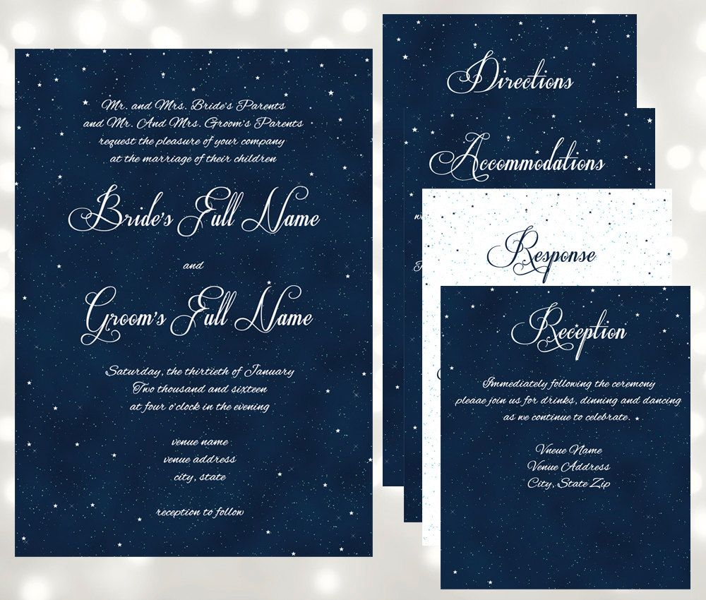 Starry Night Wedding Invitations - Under The Stars Wedding ...