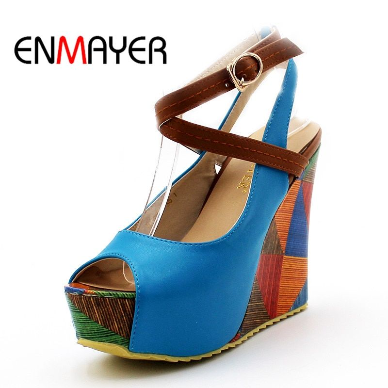 926120d8dde0 ENMAYER New Arrivals Fashion Sexy Wedges High Heels Sandals for Shoes Women  PU Leather Sandals Peep Toe Shoes Women Sandals.