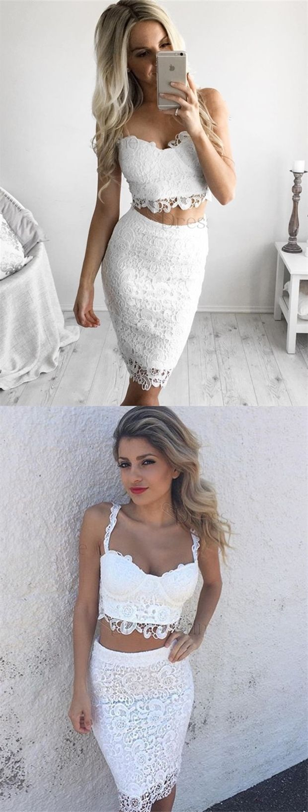 Two piece spaghetti straps aboveknee white lace homecoming party