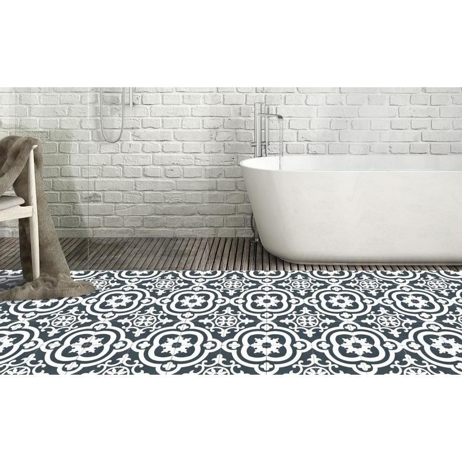 Della Torre Cementina Black And White 8 In X 8 In Glazed Ceramic Encaustic Tile Lowes Com White Ceramic Tiles Ceramic Floor Wall Tiles