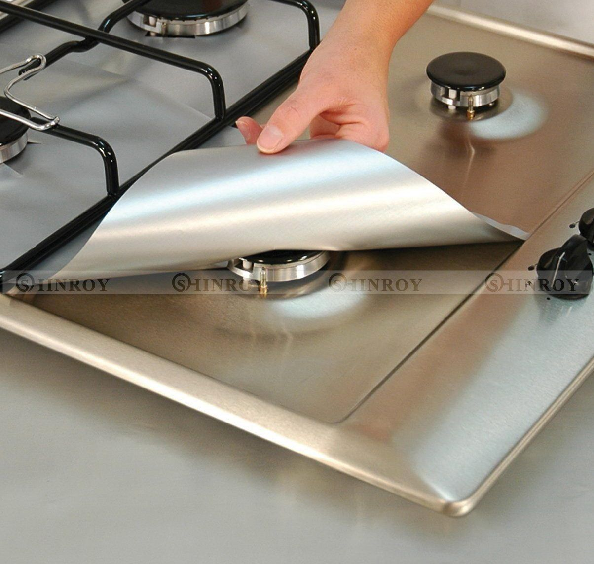 4//PCS Reusable Gas Range Stove Top Burner Protector Liner Cover For Cleaning