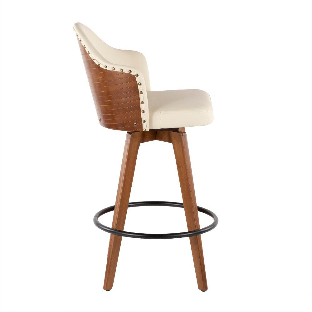 Mid Century Walnut And White 26 Inch Swivel Counter Height Stool Ahoy Leather Counter Stools Counter Height Stools Modern Counter Stools