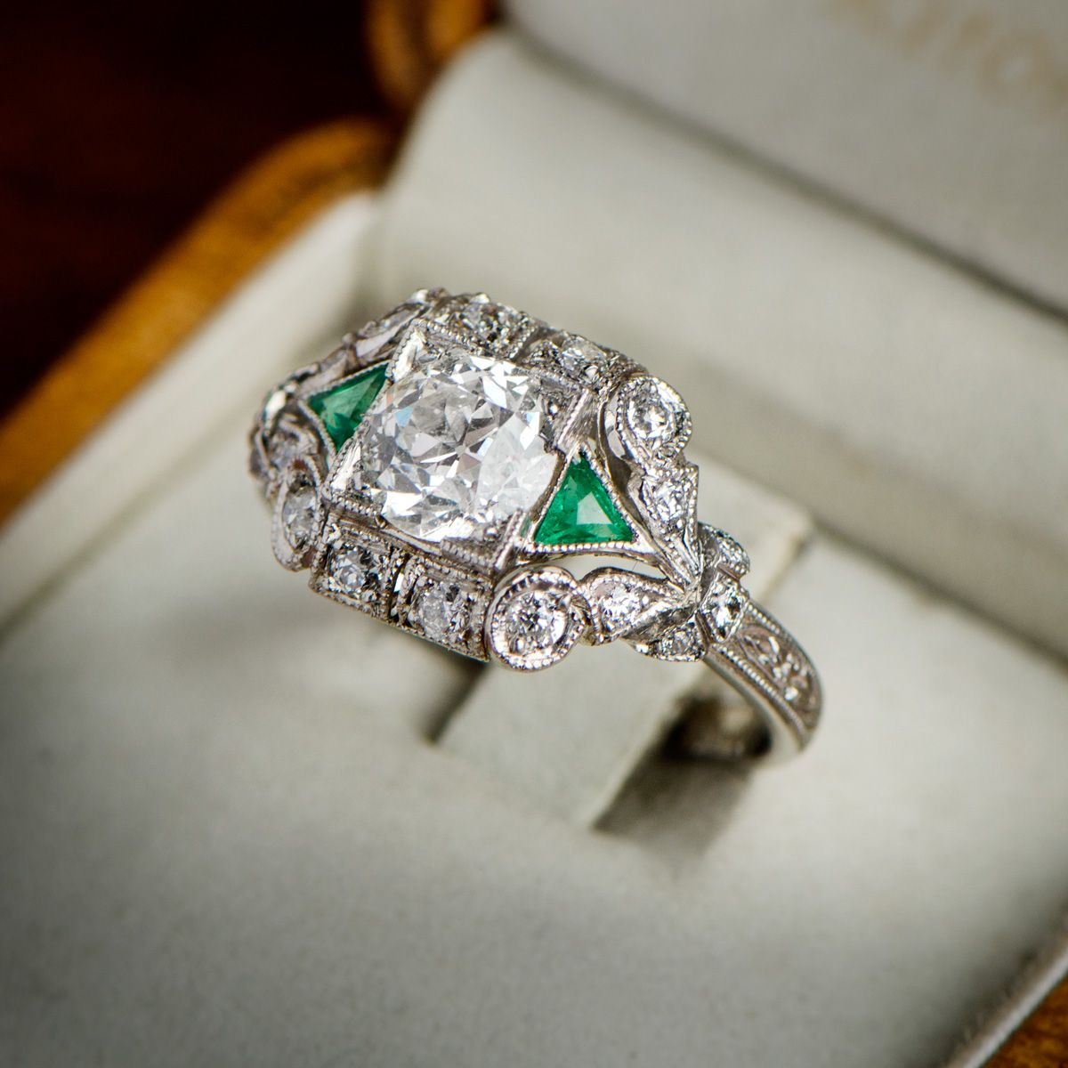 Vintage art deco style ring emeralds engagement and diamond