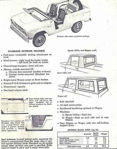 1966 Ford Bronco Standard Exterior Features: Roadster, Sport Utility ...