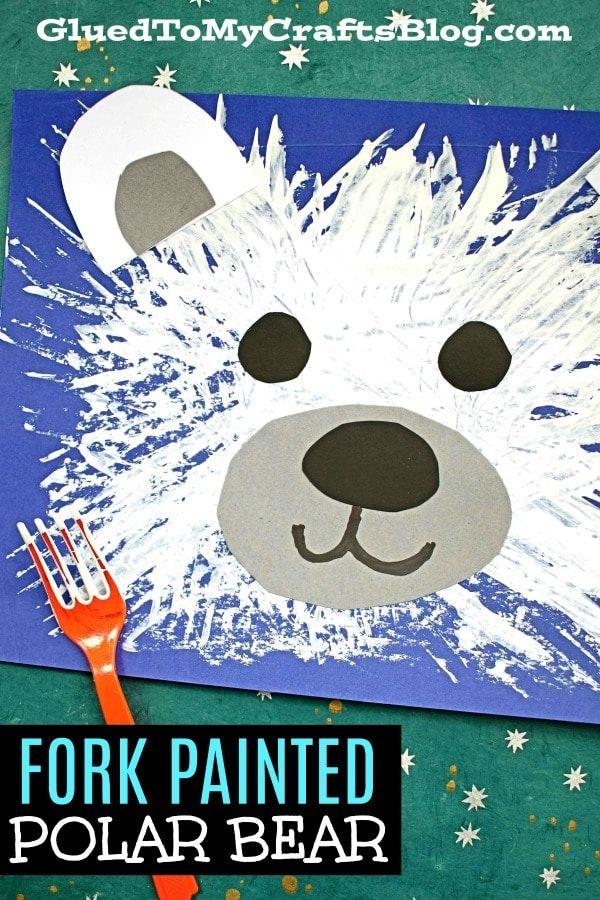 Photo of Fork Painted Polar Bear – Kid Craft Idea For Winter