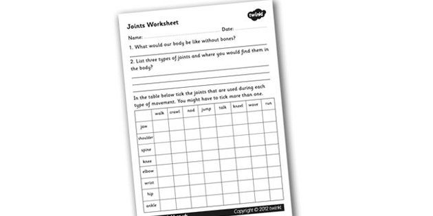 Joints Worksheet - joints, the human body, movement, muscles ...