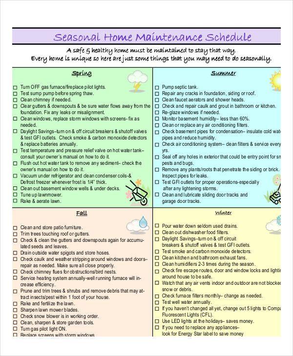 home maintenance schedule templates