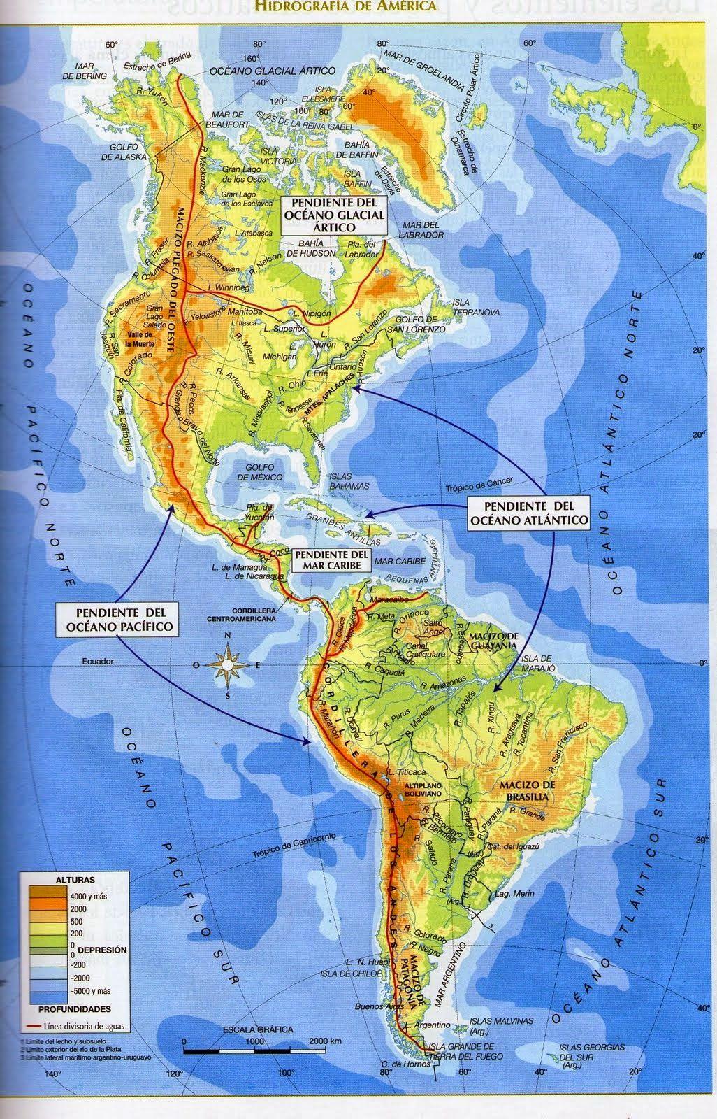 Mapa Hidrografico De España.Mapa Hidrografico De America Completo In Em 2019 Mapa