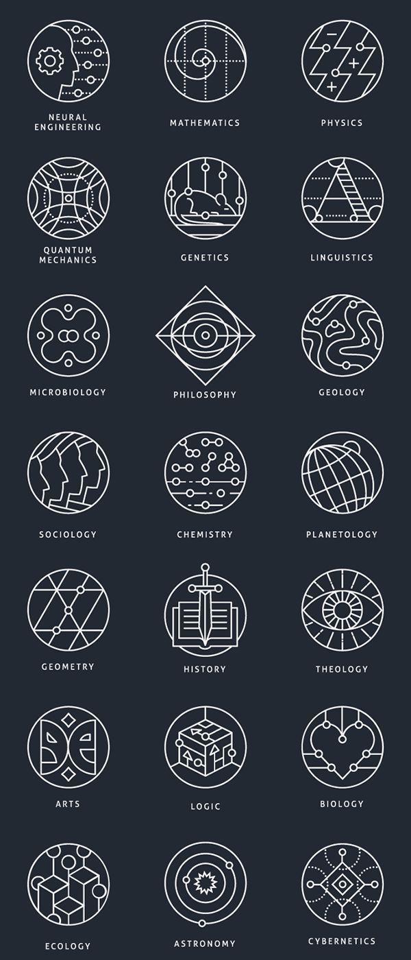 Photo of Tatuaje geométrico – Colección de marcas conceptuales, que representan diferentes áreas científicas. Disponible… – sandy